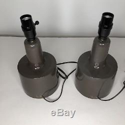 Pair Vintage Jane & Gordon Martz Marshall Studios Brown Ceramic Table Lamps