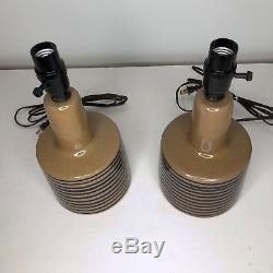 Pair Vintage Jane Gordon Martz Marshall Studios Bue Stripe Ceramic Table Lamps