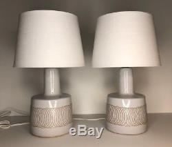 Pair Vintage Jane & Gordon Martz Marshall Studios Incised Ceramic Table Lamps