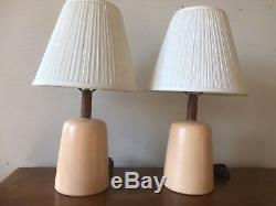 Pair Vintage Jane & Gordon Martz Marshall Studios Peach Ceramic Table Lamps MCM