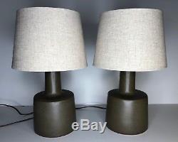 Pair Vintage Jane & Gordon Martz Marshall Studios Sand Fleck Ceramic Table Lamp