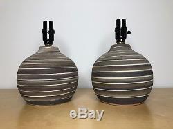 Pair Vintage Jane & Gordon Martz for Marshall Studios Ceramic Table Lamps Signed