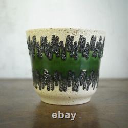 Pair Vintage Mid Century Green Fat Lava Plant Pots Pottery Bay Keramik German