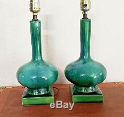 Pair Vintage Mid Century Modern Jade Studio Pottery Designer genie table lamps