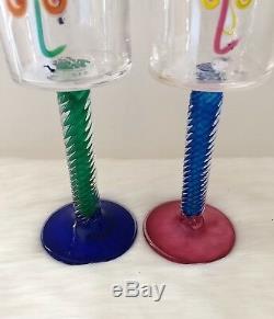 Pair of RARE Vintage Studio Art Glass Wine Goblet FINELINE Kerry Feldman Studio