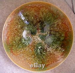 Poole studio pottery bowl blue backstamp huge dish vintage bowl fab drip glaze