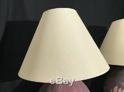 Pr Vintage 1980s American Studio Organic Art Pottery Drip Glaze Pink Lamps MCM