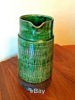 RARE Dark Green VTG MCM Danish Studio Pottery Pitcher Vase THOMAS TOFT TT 7.75IN