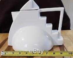 RARE Salins Studio France Vintage Memphis-Style Modern Art Deco White Teapot