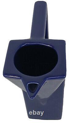 RARE VINTAGE SALINS STUDIO FRANCE CERAMIC ART DECO STYLE Blue Pitcher 9.5