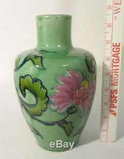 RARE Vintage AWAJI Signed Japanese Studio Art Pottery 8.5 Vase Incised Flowers