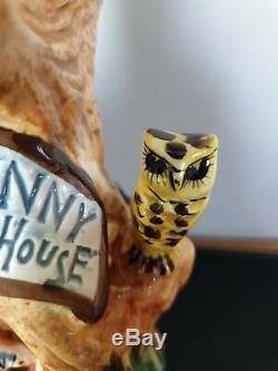RARE Vintage Derek Fowler Studio Pottery Table Lamp Mrs Bunny Hollow Tree House