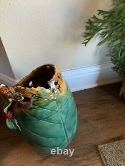 RARE Vintage Mann MM Studio Art Pottery Vase Applied Bird & Fruit, 12 1/2