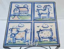 RARE Vtg M. A. HADLEY Pottery Iron Tile CUSTOM STUDIO Country Farm Animals Table