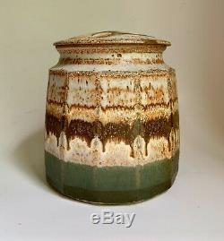 ROBERT WOO Studio POTTERY Stoneware JAR withlid Massachusetts Paddled Faceted VTG