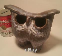 RO OR vtg studio art pottery owl statue figurine mcm bird sculpture terra cotta