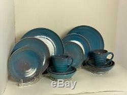 Rackliffe Studio Art Pottery Blue Hill Cobalt Blue 12 pcs 2 Place Settings Vtg