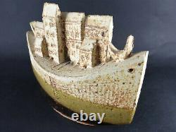 Rare Bryan Newman Studio Pottery Art Sculpture Houses with Boat Vintage SALE