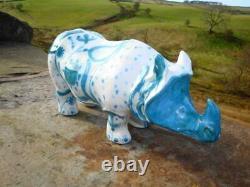 Rare Large Size Vintage MID Century Rye Studio Pottery Rhino David Sharp Signed