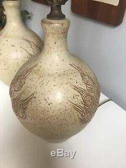 Rare Pair Vintage Wishon Harrell Studio Art Pottery Carved Wheat Lamps Signed