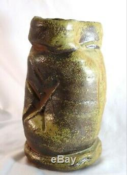 Rare Peter Callas Studio Art Pottery Large Vtg Brutalist Stoneware Vase