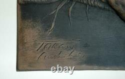 Rare Set 4 Vintage Australian Pottery Takacs Studio Aboriginal Plaques Emu Totem