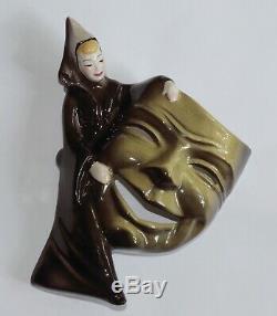 Rare Vintage Ceramic Arts Studio Hamlet & Ophelia Comedy Tragedy Masks MINT