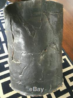 Rare Vintage Mid Century Brutalist Large Black Studio Stoneware Ceramic Pottery