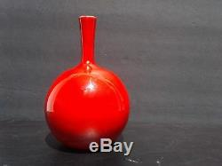 Rare Vintage Modern Signed William Polia W P PILLIN Studio Art Pottery Red Vase