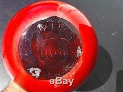 Rare Vintage Modern Signed William Polia W P PILLIN Studio Art Pottery Red Vase
