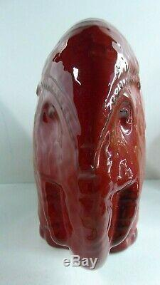 Red Glaze Elephant Ceramic Pottery Vintage MID Century Studio Art Statue
