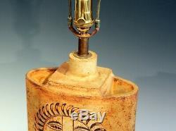 Roger Capron French Studio Vallauris Pottery Vintage 1950s Art Sun Face Lamp