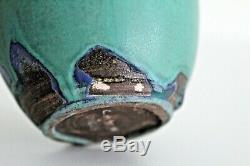 Rose Cabat Feelie Vtg Mid Century Modern Blue Green Studio Art Pottery Weed Pot