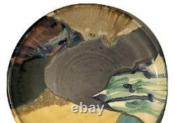 Ruth Stein California Huge Vintage Studio Art Pottery Abstract Modernist Plate