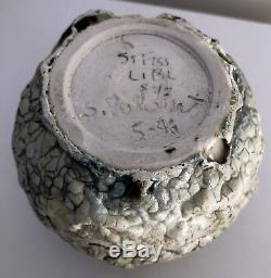 STEPHEN POLCHERT studio art pottery vintage small VASE volcanic glaze Nebraska