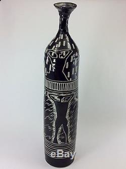 STUDIO ART POTTERY VASE Vintage MID CENTURY MODERN Twisted Neck BLACK & WHITE