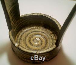 STUDIO POTTERY vtg mcm signed japanese redware ikebana bamboo flower vase bowl