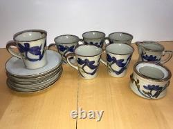 Set 6 Vtg Handmade Ceramic Japanese Stoneware Studio Pottery Coffee Mugs Cups