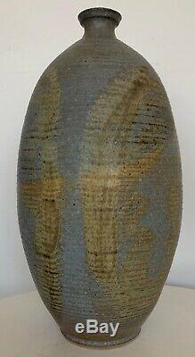 Sharp Vintage 60s 70s Ribbed Studio Pottery Vase Vessel Mid Century Modern Deyoe