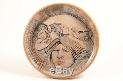 Signed Mary Lou Higgins American Studio Art Pottery VNTG Plate Hand Painted 1976