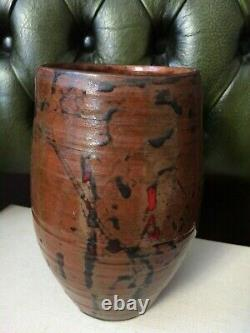 Signed PC or PG 1970 Unusual Vintage Studio Pottery vase glazed