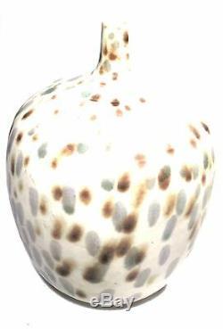 Signed Studio Pottery Thin Neck Speckled Glaze Modern Sculpture Vintage Vase