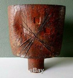 Signed Vintage Ikebana Modernist Japanese Studio Art Pottery Stoneware Vase