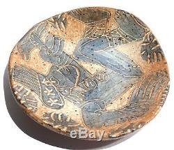 Signed Vintage Studio Art Pottery Modernist Abstract Figure Dish MID Century