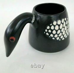 Stephen Schiffer Vintage Art Studio Pottery Ceramic Loon Bird Mug Bowl Figural