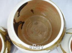 Studio Art Pottery Canister Set Jars Brown Drip Glaze Signed Dated Vintage 1977