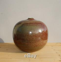 Studio Keramik Vase Signiert Ochsenblutrote Glasur 20x20cm Vintage Pottery