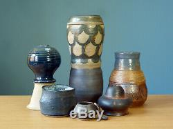 Studio Pottery Lot Vase Mid Century Grouping Vintage MCM Blue Ceramic Collection