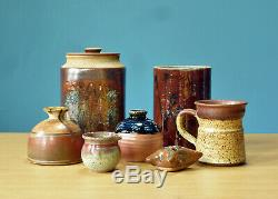 Studio Pottery Lot Vintage Mid Century Modern MCM Pillow Vase Mug Canister