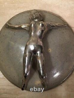 Studio Pottery Round Box Female Nude Jewelry Silver Metallic Glaze Art Deco Vtg